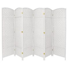 Bring an instant update to your space with the bold look of the Diamond Weave Fiber Room Divider from Oriental Furniture. This six-panel room divider is the perfect solution whether you want to separate your bed from your living space in a studio apartment or you want to tuck away a reading corner. With the hardwood and metal construction, this screen can be arranged in any configuration you want.