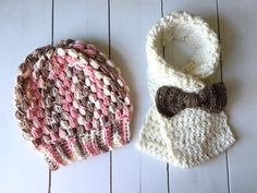 Holiday Set Beanie and Bow Scarf Fits Toddler by ChucksForChancho