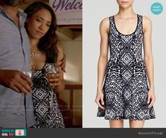 Iris's black and white patterned dress on The Flash.  Outfit Details: http://wornontv.net/52432/ #TheFlash