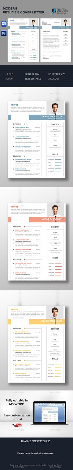 Modern Resume template by DesignsTemplate This is Modern Resume template . This template download contains 300 dpi print-ready CMYK psd files. All main elements are editabl