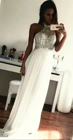 The Charming White Evening Dress, Prom Dress