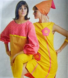 Colleen Corby in pink and yellow fashion, 1965.