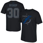 Cheer on your Tampa Bay Lightning in the Cross Check Name & Number T-shirt! This Ben Bishop Reebok tee features a large Tampa Bay Lightning logo on the front, along with your favorite player's name and number on the back. No one will question who you root for when you're wearing this stylish Tampa Bay Lightning top!