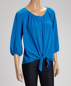 Look what I found on #zulily! True Blue Tie-Front Button-Up Top - Women by Millenium Clothing #zulilyfinds