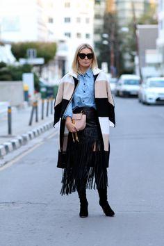 Coat/Chloe Shirt/Isabel Marant Etoilé Skirt/Intermix Boots/Gianvito Rossi Bag/Chloé Drew