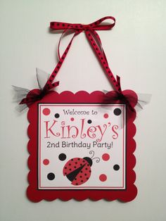 Red and Black Ladybug Door Sign on Etsy, $12.00