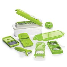"""12-Piece All-in-One Food Prep Set. Slice ... Dice ... Done! Kitchen prep the easy way! 12-piece set measures 10 1/2"""" L x 4"""" W x 4 3/4"""" H. Plastic, metal. Hand wash only. Dry thoroughly. Imported. Features include: • Mandolin and Julienne slicers- Dicer• Wedger• Peeler• Garnishing tools• Storage container. Item# 868-106. www.youravon.com/tanikaparson"""