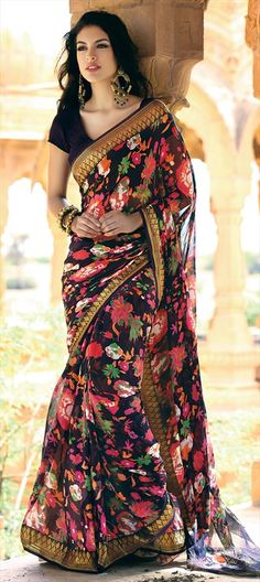 Black Floral Saree.