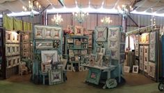 Our booth at First Monday Trade Days, Canton, Texas. The Frame Cottage of Wye Mountain. Distressed, wooden picture frames.