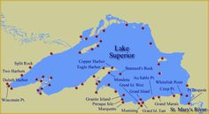 Map of Lake Superior Lighthouses.*I've been lake trout fishing at Stannard Rock, about 40 miles out with no land in sight--It was scary because we could see the huge, dark shapes swimming around the boat through the clear water!--Reminded me of 'Jaws'! Michigan Travel, Lake Michigan, Wisconsin, Detroit Michigan, Copper Harbor, The Mitten State, Two Harbors, Grand Marais, Grand Island