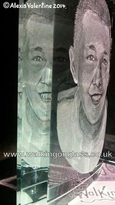 Hand Drill Engraved Portrait on an Optical Glass Book by Alexis Valentine www.walkingonglass.co.uk