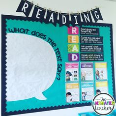 """1,118 Likes, 69 Comments - Amy Groesbeck (@theamygroesbeck) on Instagram: """"Reading bulletin board remodel! I'm going to use the text speech bubble several different ways.…"""""""