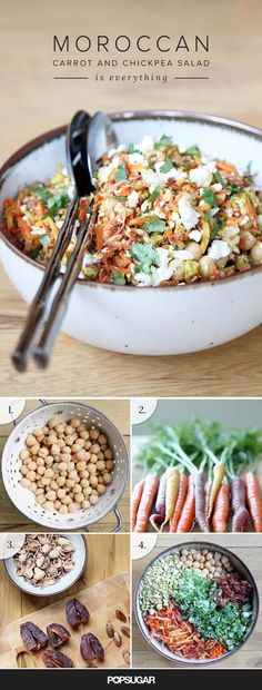 This carrot and chickpea recipe is meal-worthy on its own, makes for a great brown-bag lunch , is gluten-free and vegetarian (even vegan if you ditch the feta for some chopped green olives) and it comes together in about half an hour. Thanks POPSUGAR Food Chickpea Recipes, Veggie Recipes, Whole Food Recipes, Salad Recipes, Vegetarian Recipes, Cooking Recipes, Healthy Recipes, Whole30 Recipes, Quick Recipes