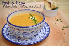 Fast & Easy Paleo Butternut Squash Soup Recipe by Chef Katherine Humphus of Savory Made Simple If you're anything like me, nothing makes you feel more at home than a nice bowl of steaming hot soup. I especially love veggie soups that are rich and creamy, but I don't ALWAYS want the accompanying tummy ache or calories that come with some of those DELICIOUS soups (trust me, sometimes I don't mind!). When I was making the menu for the Yoga Retreat I cooked for in Big Bear, I knew that the gi...