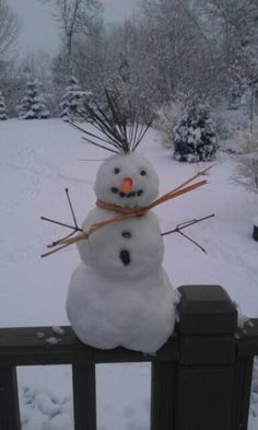My baby snowman on the deck!