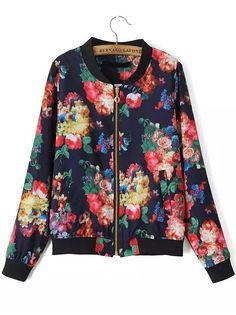 Multicolor Stand Collar Rose Print Zipper Jacket 24.17