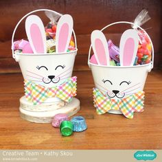 It& Kathy today with a tutorial showing how to create these adorable Easter Bunny Buckets. I made these for my daughter and her college roommate because even the big kids like an Ea. Easter Buckets, Easter Hunt, Diy Ostern, Bunny Face, Easter Projects, Easter Candy, Easter Activities, Easter Crafts For Kids, Easter Wreaths