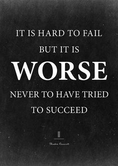 Theodore Roosevelt Quote Print, It is Hard to fail, but it is worse never to have tried. Motivational quote. Inspirational wall decor.