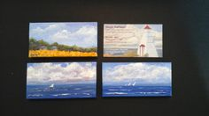 The smallest canvas that I have tried are the same size as my business card. I am inspired by Lake Winnipeg and surrounding landscapes. www.gaylehalliwell.com