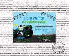 Monster truck boys birthday Blue Green Party by themilkandcreamco