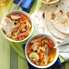 """Mexican Pork & Pinto Beans Recipe -We've lived in Arizona for decades, so Mexican-style cooking has become the same as """"Arizona-style cooking"""" for us. Nothing tastes better than chili-spiced pork with tortillas. —Anne Fatout, Phoenix, Arizona"""