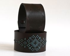 DIY Cross Stitch Kit – Leather Cuff with Southwestern Inspired Design DIY Kit – Cross Stitched Leather Cuff, Dark Brown Leather with Abstract Flower Design. Stitching Leather, Leather Cuffs, Leather Tooling, Cross Stitching, Leather Accessories, Leather Jewelry, Bracelet Cuir, Leather Projects, Small Leather Goods