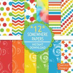 25% Off Sale Digital Paper Pack Artist Party Rainbow Color Paper Chevron Tie Dye Paint Splotches - Somewhere (683)