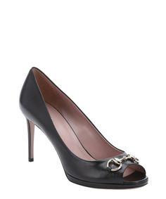 Gucci black leather horsebit detail peep toe pumps