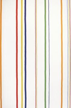 Erik Wallpaper Striped wallpaper in children's style. Multi-coloured stripes on an off white background. fabricsandpaper.com