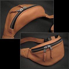 Leather waist bag hip bag waist bag cowhide leather Tan / Brown / Brown Biker Leather Fanny Pack Waist Bag Tan/Brown WILD HEARTS Leather & Silver (Item ID wb1001b15)