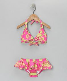 Take a look at this Makena Pink & Lime Aloha Ruffle Bikini - Girls by Makena Surf Wear on #zulily today!