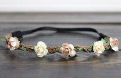 Bridal Flower Crown Flower Girl Headband by myfashioncreations Crown Flower, Flower Crown Wedding, Flower Crowns, Wedding Flowers, Handmade Flowers, Diy Flowers, Boho Hairstyles, Wedding Hairstyles, Bohemian Wedding Hair