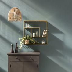 Etagère murale en métal filaire gold Uptown - GM | DECOCLICO Suspension Vintage, Deco Originale, Style Deco, Bar Cart, Floating Shelves, Moka, Furniture, Home Decor, Console