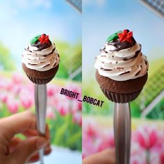 dessert spoon decorated cupcakes chocolate, yummy dessert spoon, delicious, sweets, snacks, cakes, polymer clay fimo, exclusive handmade by BrightBobcat on Etsy