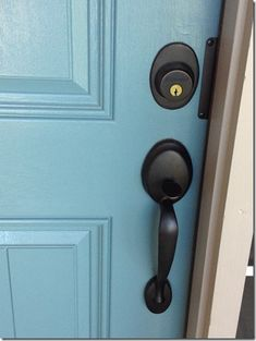 painting the front door, love the colored door with black door knobs Black Front Doors, Painted Front Doors, Front Door Colors, Front Door Decor, Front Porch, Front Door Handles, Black Door Handles, Paint Sheen, Valspar Paint Colors