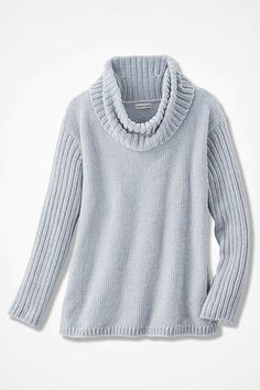 Rib-Sleeve Chenille Pullover, Dove Grey