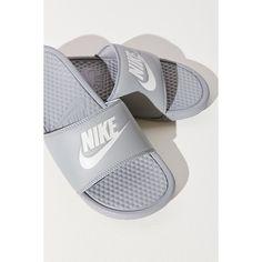 Nike Benassi JDI Slide ($25) ❤ liked on Polyvore featuring shoes, nike, polyurethane shoes, nike footwear and nike shoes