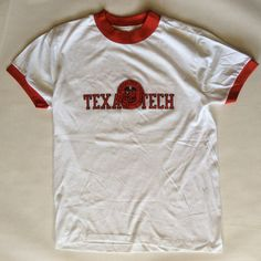1980's Texas Tech University ringer tee, white, red, and black, men's medium / 40 42 by afterglowvintage on Etsy