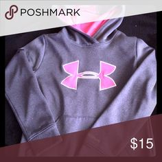 "Little girls ""under armour"" hoodie Two very small stains front left bottom of hoodie Under Armour Tops Sweatshirts & Hoodies"