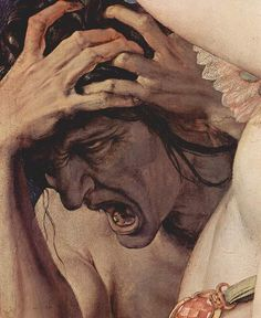 "Old woman detail - ""Venus, Cupid, Folly and Time"" by Agnolo Bronzino"