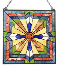 Look what I found on #zulily! Stained Glass Southwest Sunburst Window Panel #zulilyfinds