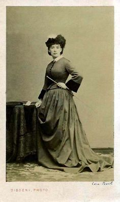 """Cora Pearl in riding habit  """"A top courtesan of late-19th-century Paris. I love her strong expression in this picture, looking straight at the camera."""
