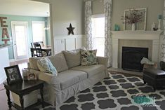 Living Room Makeover – Part 7: Final Reveal. The Turquoise Home  If I didn't live a man...everything would be teal, grey and yellow.