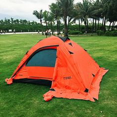 Outdoor Double layer 2 Person Camping Backpack Tent with Snow Skirt for Traving Camping Climbing Hunting with Carry Bag Two Windows Fiberglass Pole Green Orange >>> Check this awesome product by going to the link at the image.