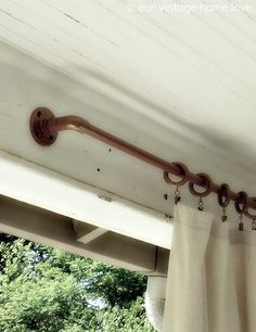 pvc pipe coated with copper spray paint. porch curtains, might be nice for the west side of the back patio Pipe Curtain Rods, Copper Curtain Rod, Copper Spray Paint, Metallic Paint, Side Porch, Front Porches, Back Patio, Diy Curtains, Porch With Curtains