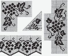 antique crochet filet patterns grape edges and corners Crochet Border Patterns, Crochet Curtain Pattern, Crochet Lace Edging, Crochet Curtains, Crochet Tablecloth, Tapestry Crochet, Thread Crochet, Crochet Designs, Crochet Doilies