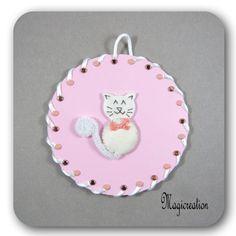 tableau chat de soie blanc sur CD rose - Boutique www.magicreation.fr