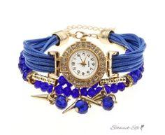 Damen Armbanduhr GLAM gold mit Zirkonien & Perlen PU Band...
