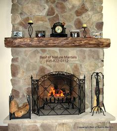 Rustic stone fireplace mantels old design with stone fireplace mantels home decorations for january . Rustic Mantle Decor, Wood Mantel Shelf, Custom Fireplace Mantels, Farmhouse Mantel, Stone Fireplace Mantel, Rustic Fireplaces, Fireplace Design, Fireplace Ideas, Mantle Ideas