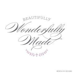 Beautifully Wonderfully Made Logo Design by Mercia M Designs Graphic Design Studios, Logo Design, Stationery Design, Logos, Beauty, Logo, Stationary Design, Beauty Illustration